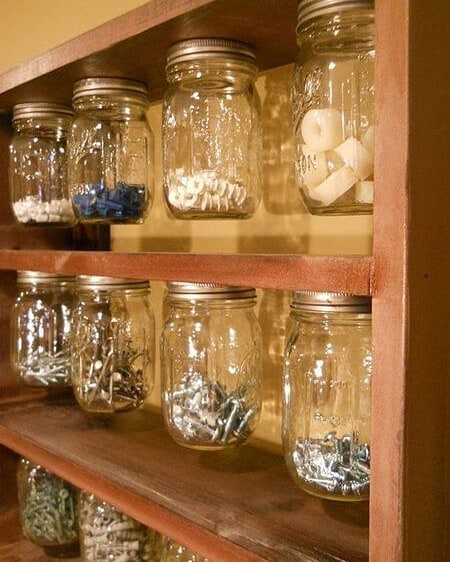 small mason jars for organizing the garage
