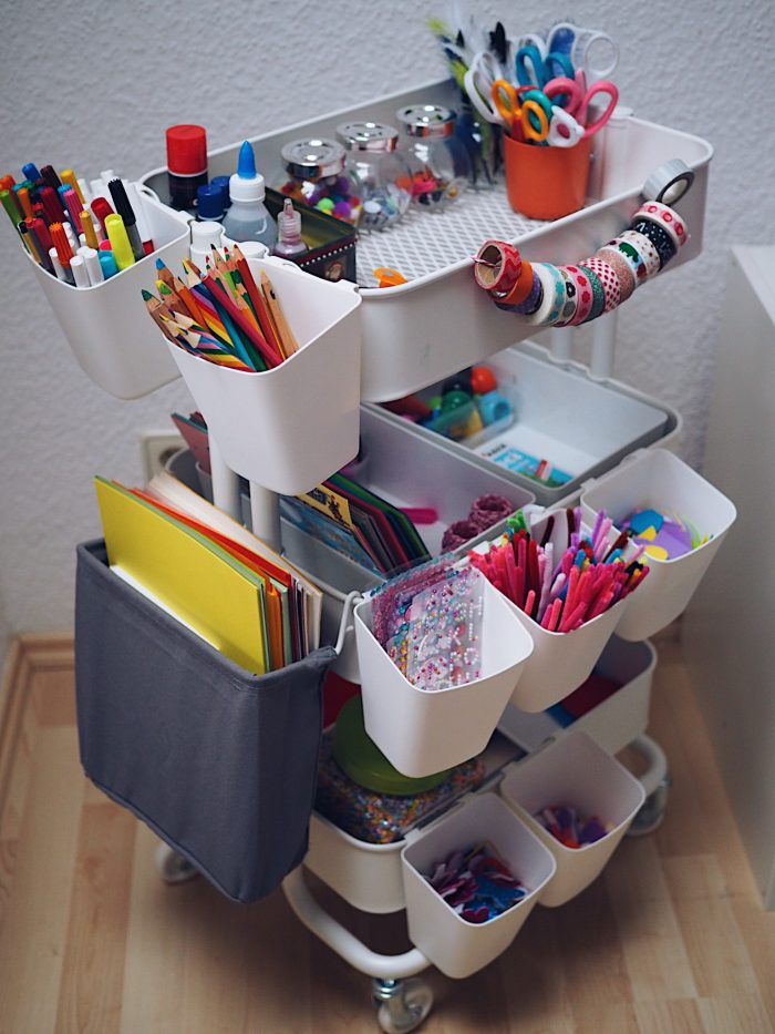 handy rolling cart for craft supplies
