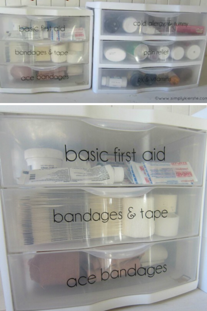 ideas for storing medicine - small plastic organizers for first aid kit
