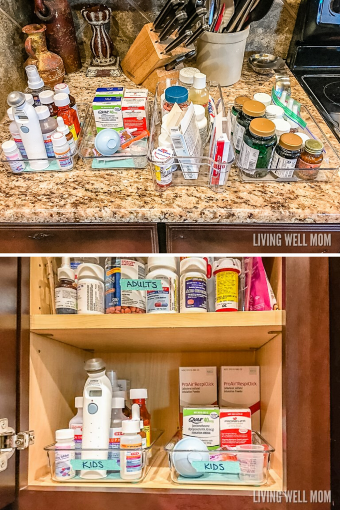 ideas for storing medicine - using shallow bins