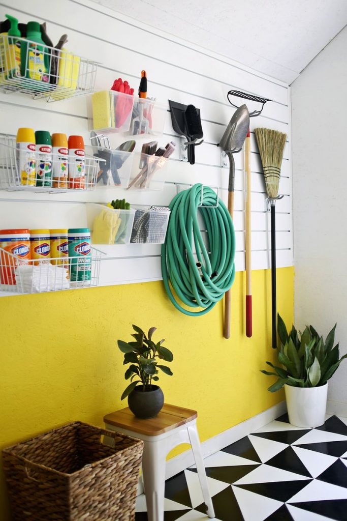 using a slat wall and making it colorful