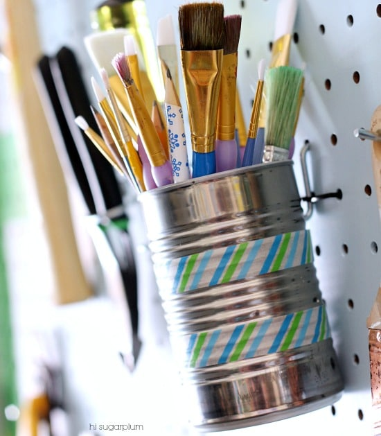 diy garagae storage - using recycled tin cans for pencil and paint brush