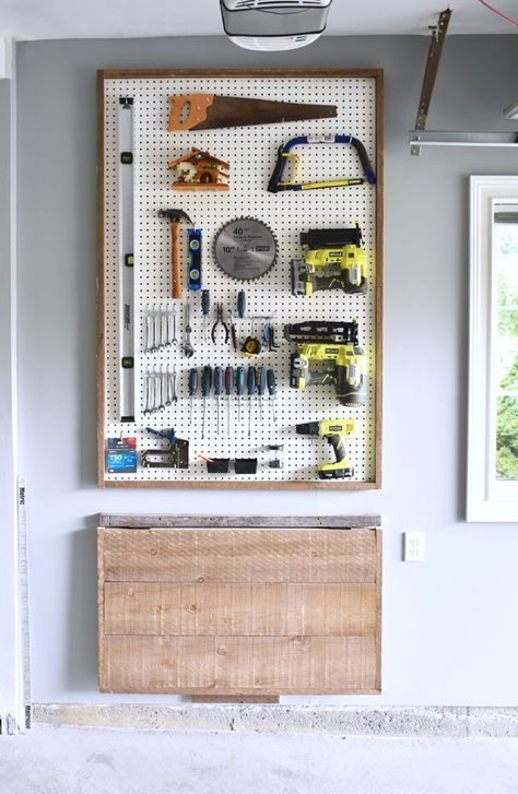 garage storage ideas - using a pegboard for woodworking tools