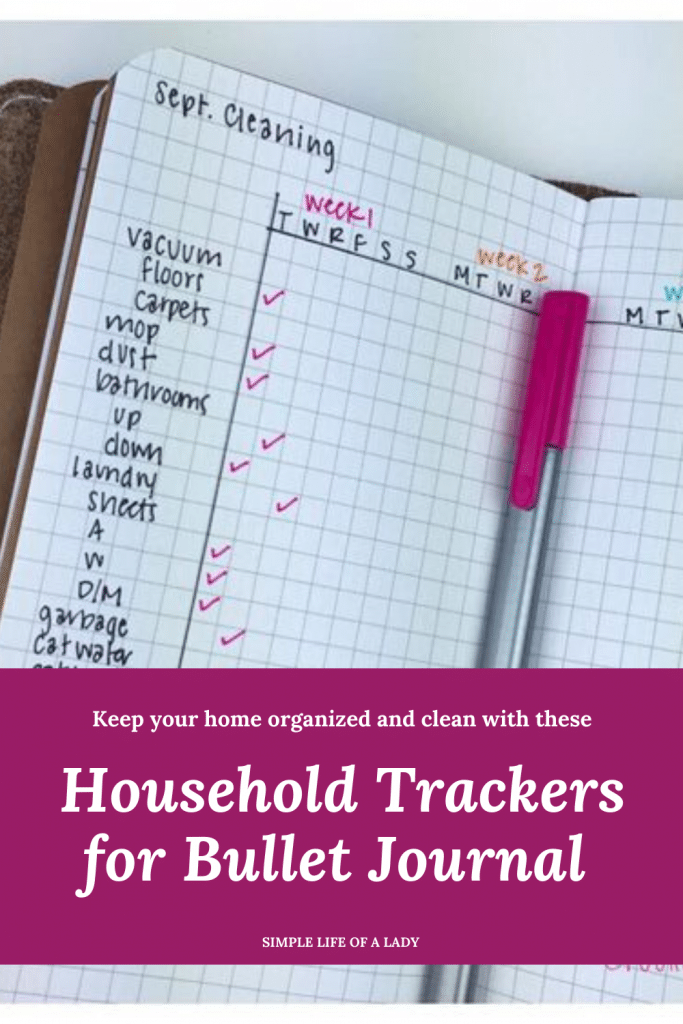 BuJo household trackers
