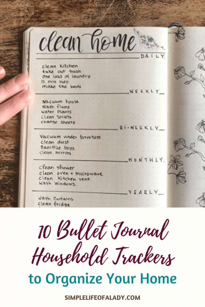 Household trackers you can add in your bullet journal to help you in organizing and cleaning your home.