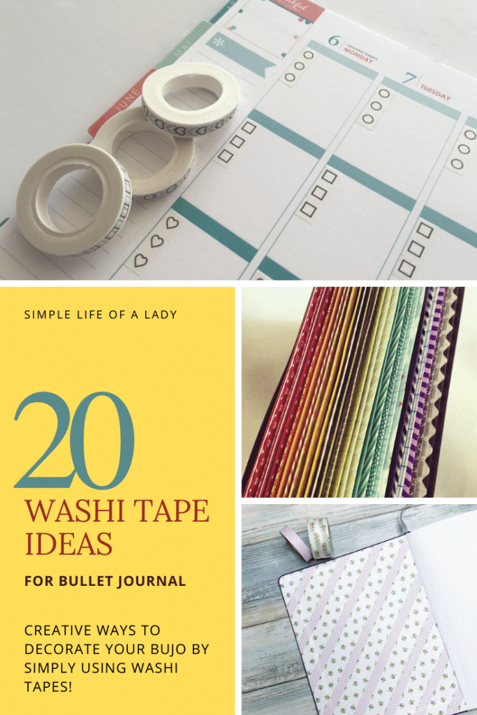 how to make bullet journal colorful by using washi tapes