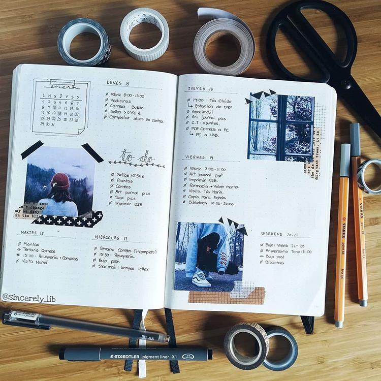Bullet Journal weekly spread - collage style