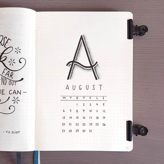 Bullet journal page ideas - monthly calendar page