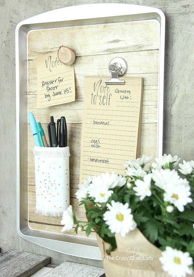 dollar store organization ideas for home office - cookie sheet turned magnetic board