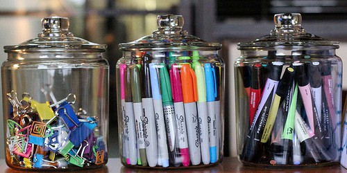 glass jars for office supplies