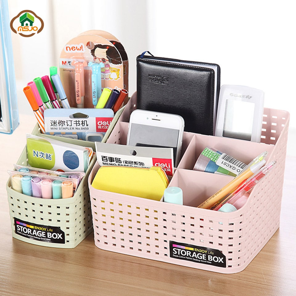 makeup organizer as desk organizer