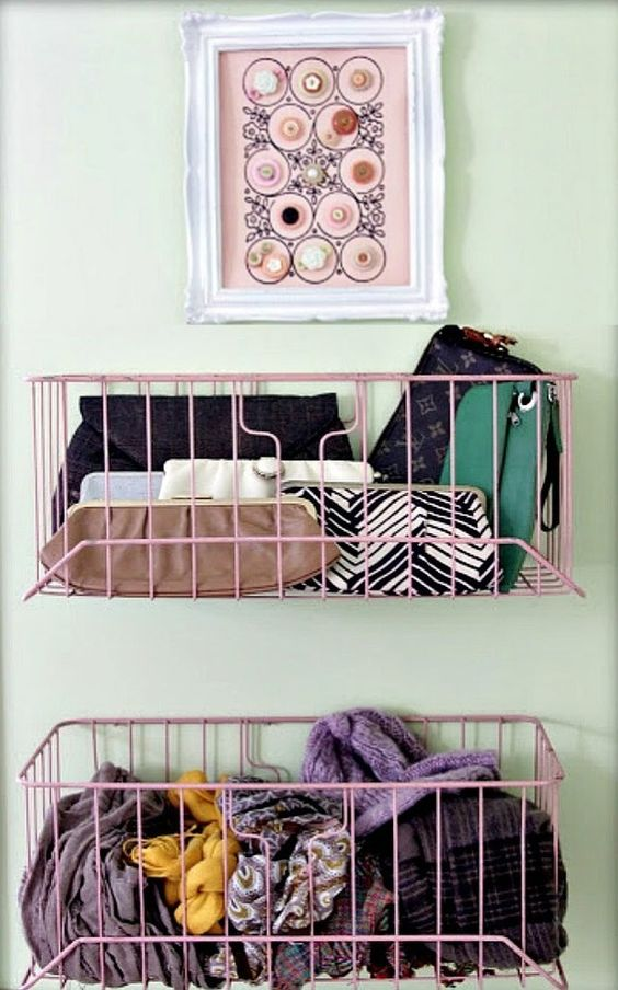 wire baskets for more closet space