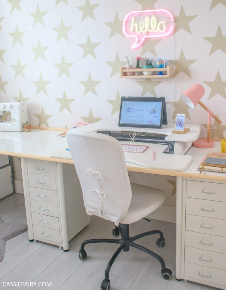 feminine home office decor ideas - wallpaper