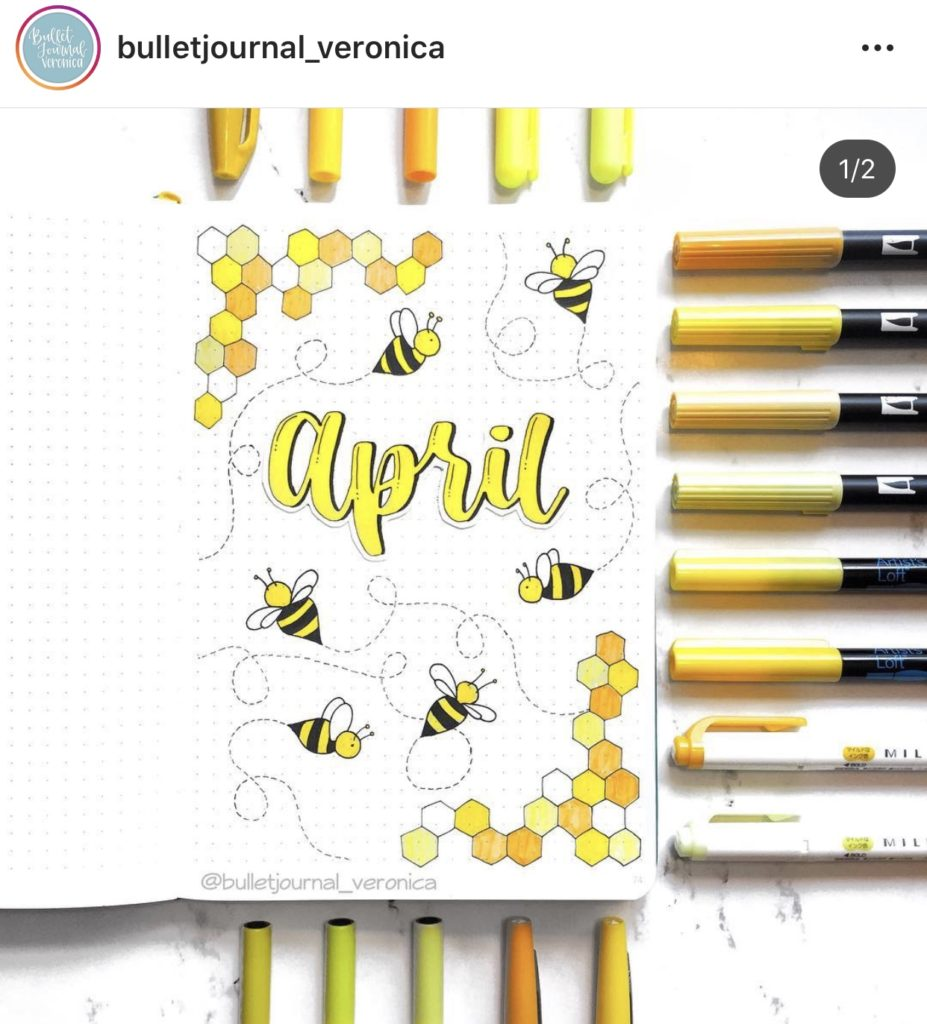 honeycomb and bee theme for monthly cover page