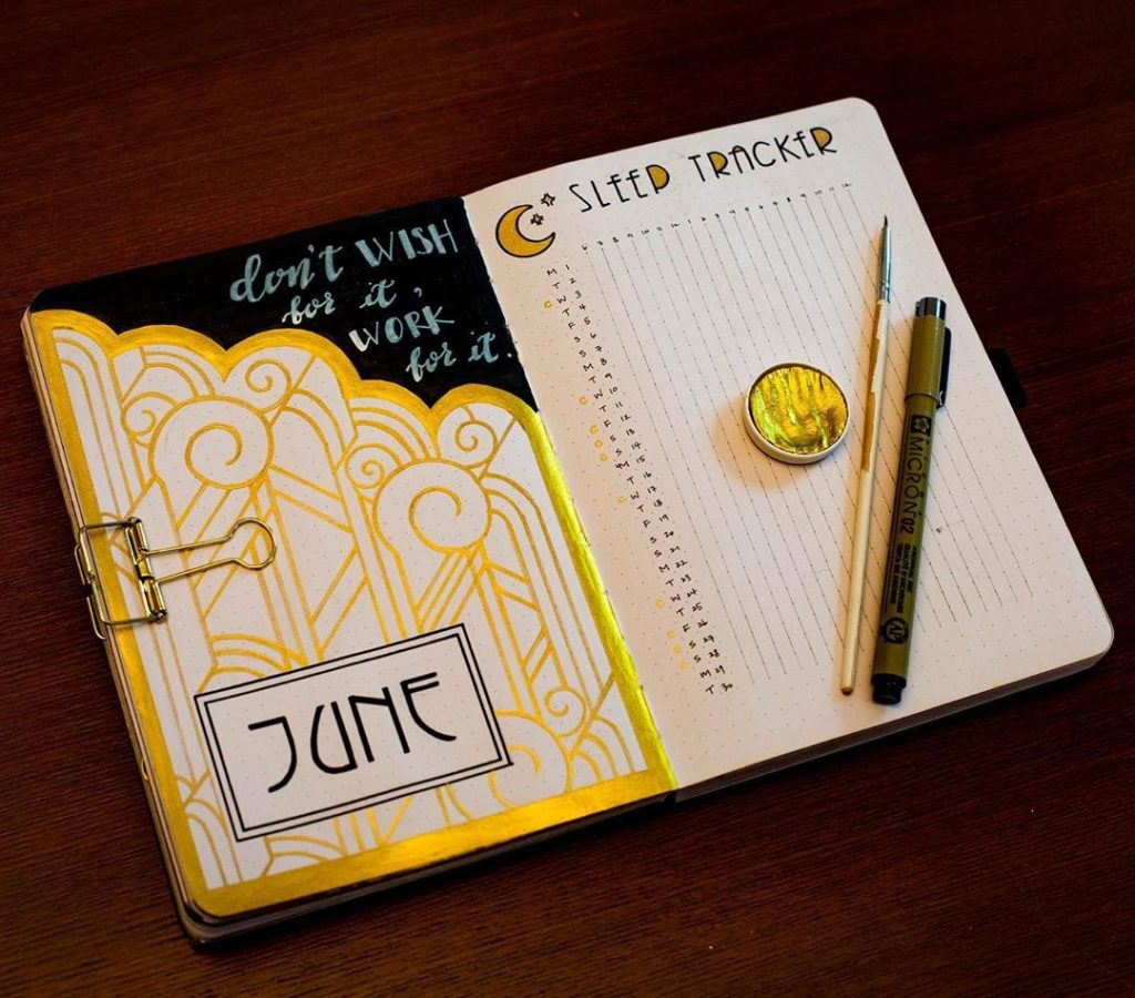 bullet journal monthly themes - sleep tracker using gold and black theme
