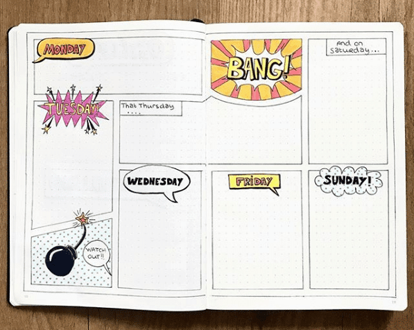 bullet journal monthly themes - comic book weekly spread