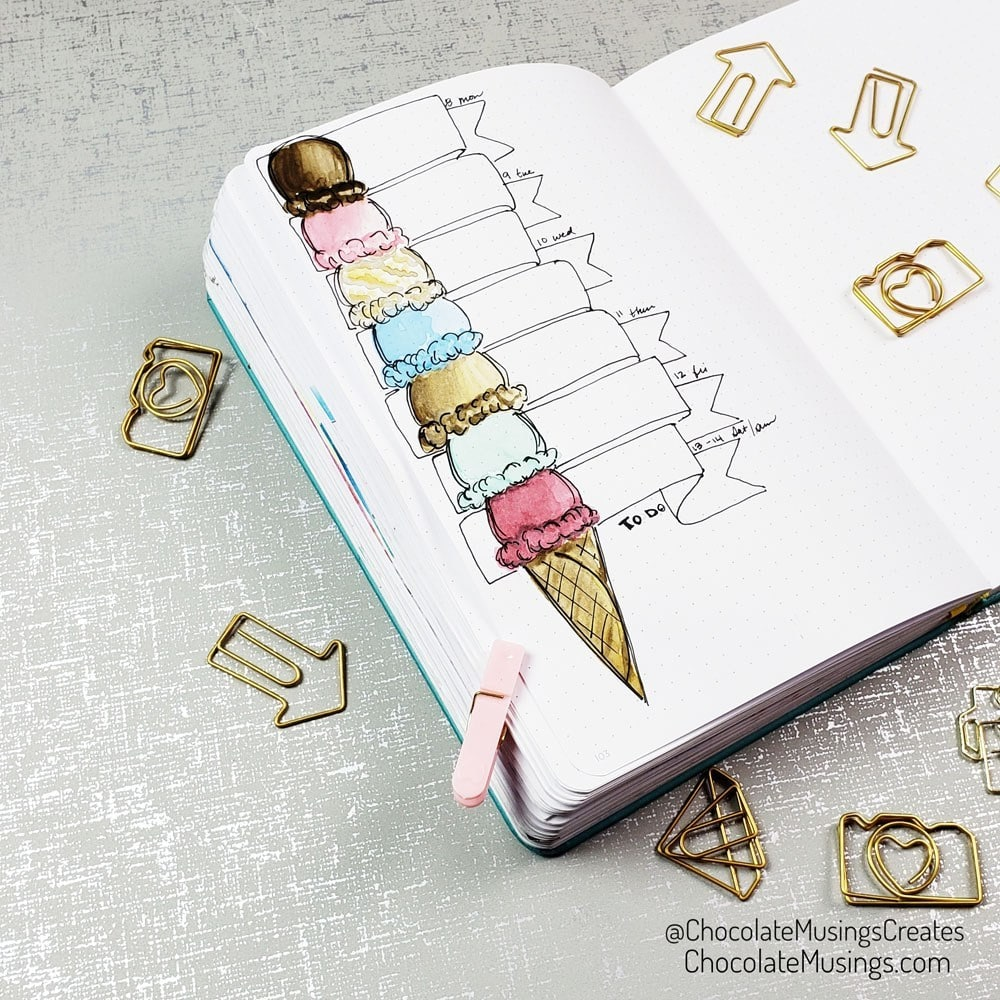 bullet journal monthly themes - ice cream weekly spread