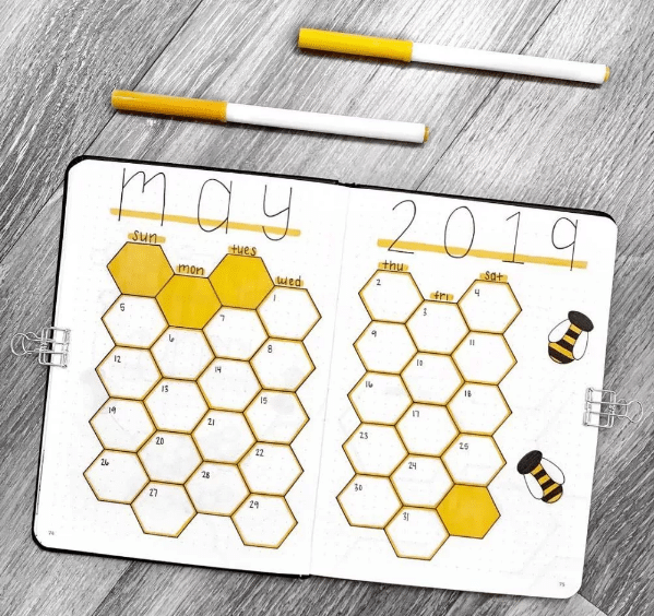 honeycomb and bee theme for monthly spread