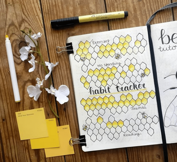 honeycomb and bee theme for habit tracker