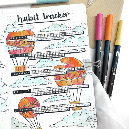 hot air balloon theme for habit tracker