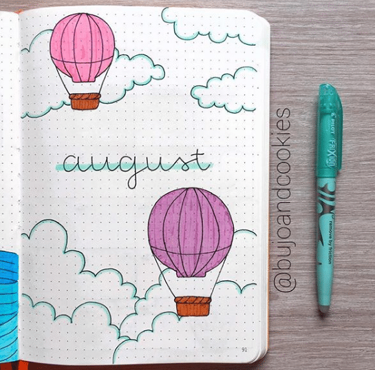 hot air balloon theme for monthly cover page
