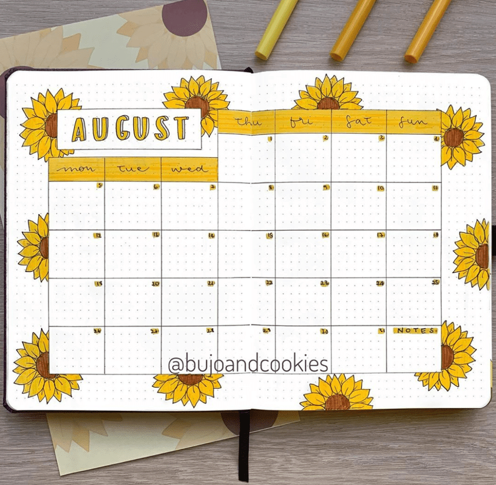 bullet journal monthly themes - sunflower theme monthly spread