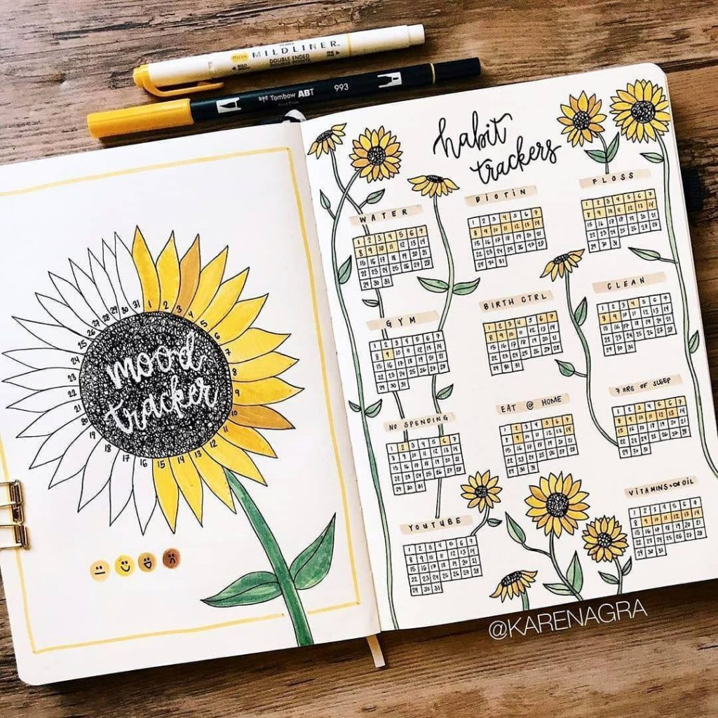 bullet journal monthly themes - sunflower habit tracker