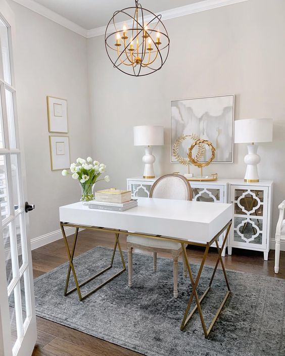 feminine home office decor ideas - white and gold colors