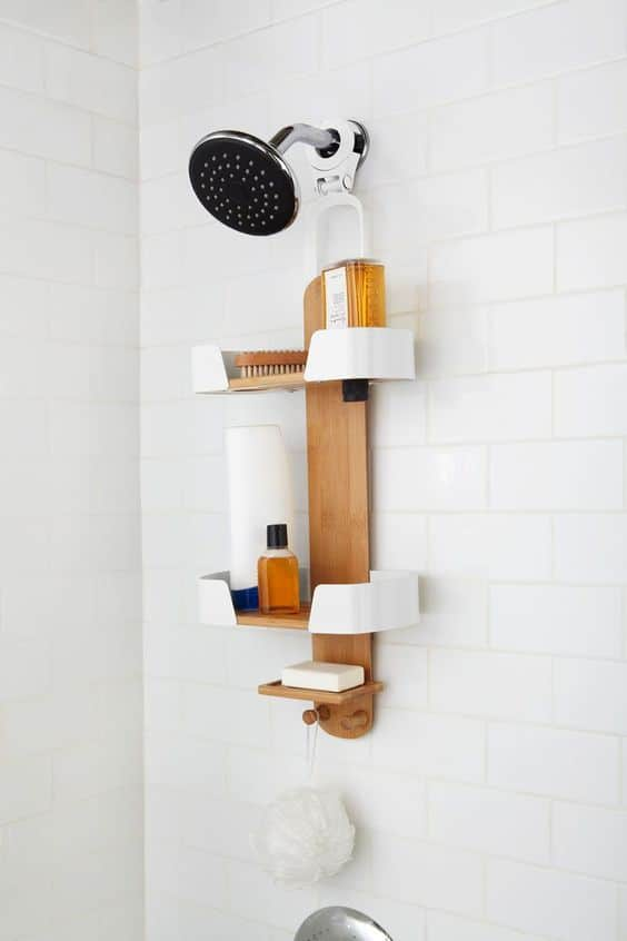 how to organize the bathroom - use a shower caddy