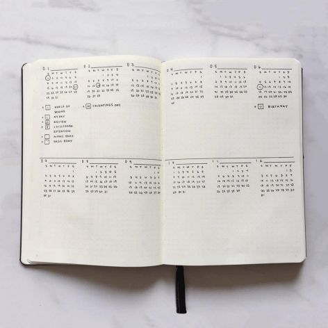 calendar for bullet journal - Minimalist yearly spread