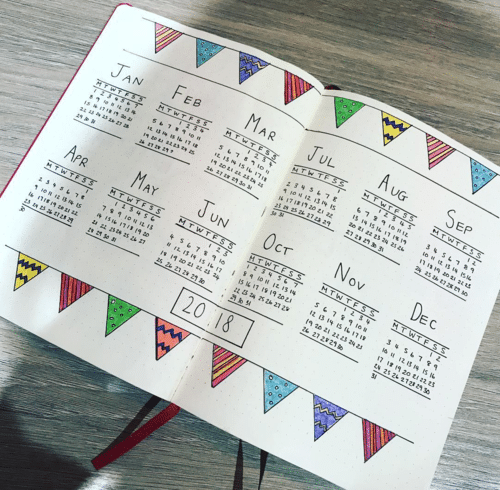 calendar for bullet journal - Festive yearly spread
