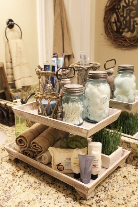 how to organize the bathroom -Use tiered trays for your countertop
