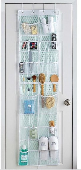 Use over-the-door shoe organizer for toiletries