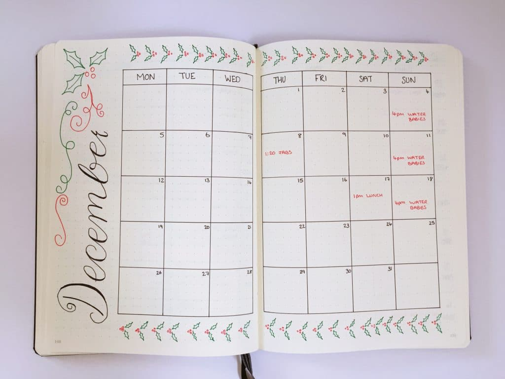 monthly spreads bullet journal - two-page calendar