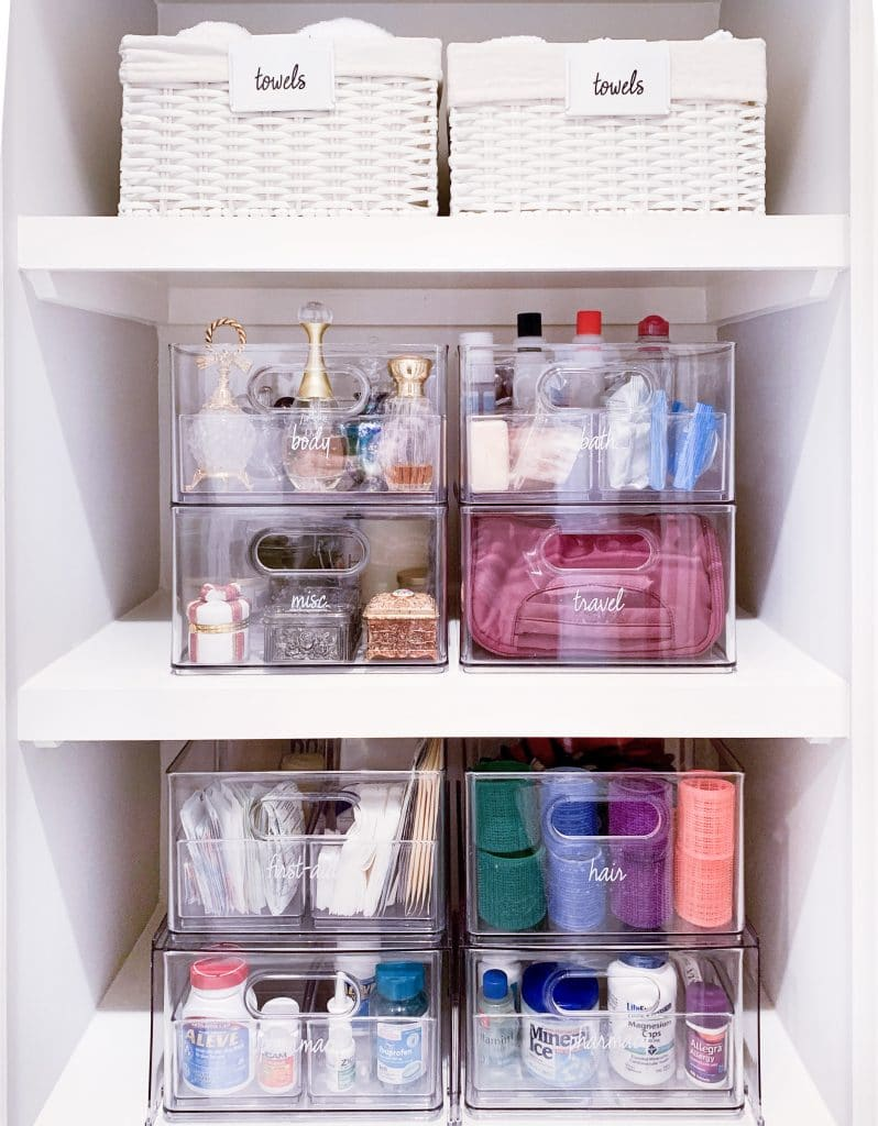 organizers for bathroom cabinets - Stackable drawer bins