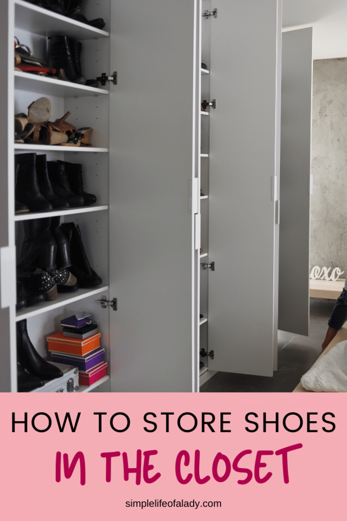 simple ideas to store shoes in the closet