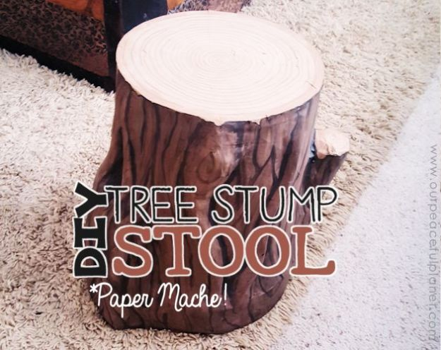 how to recycle paper - Tree stump stool