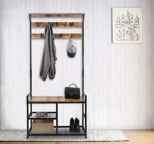 built-in furniture piece that features a coat rack, bench, and shoe rack in one