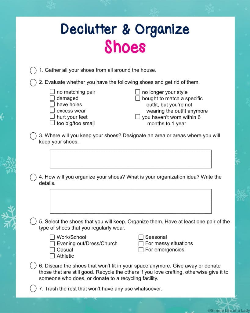 Declutter and Organize Shoes checklist from the Decluttering Binder