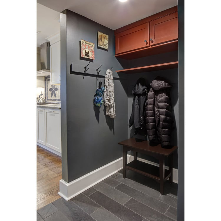 mudroom is situated in a small nook of the house by the back door