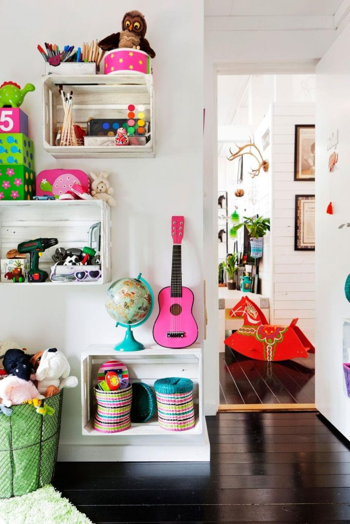bedroom shelves - crates for your kids' room