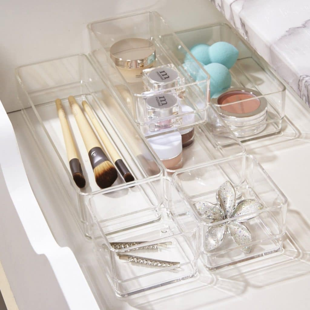 organizers for bathroom drawers - stackable bins