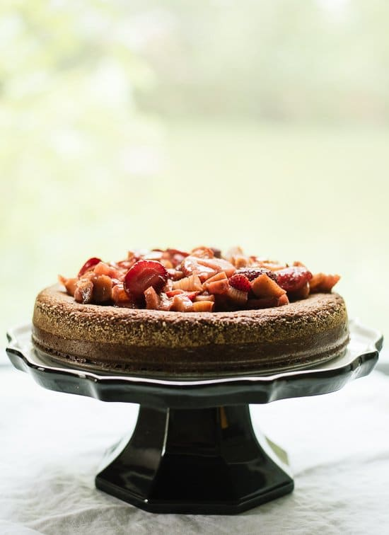 4th of July cake - Almond Cake with Roasted Strawberries and Rhubarb on Top