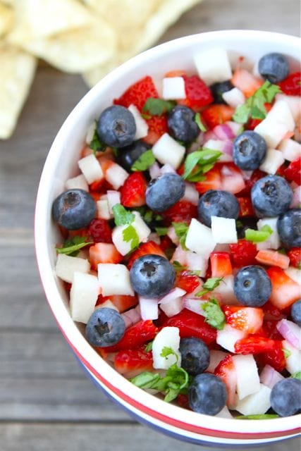 4th of July recipe for lunch - Blueberry, Strawberry, and Jicama Salsa