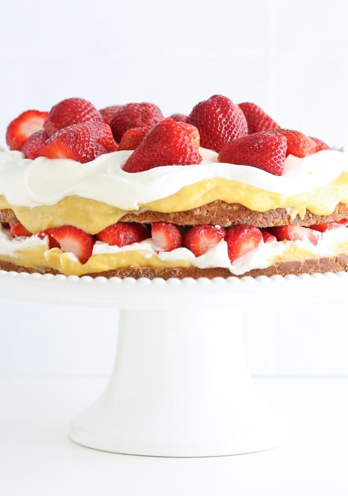Coconut Flour Cake with Lemon Curd, Strawberries, and Cream