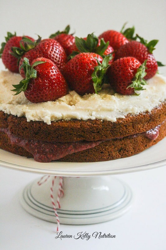 4th of July cake - Vanilla Layer Cake with Strawberry Chia Filling