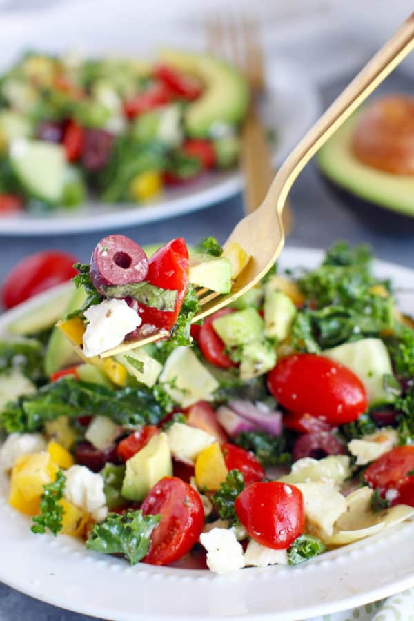 4th of July recipe for lunch - greek kale salad with avocado