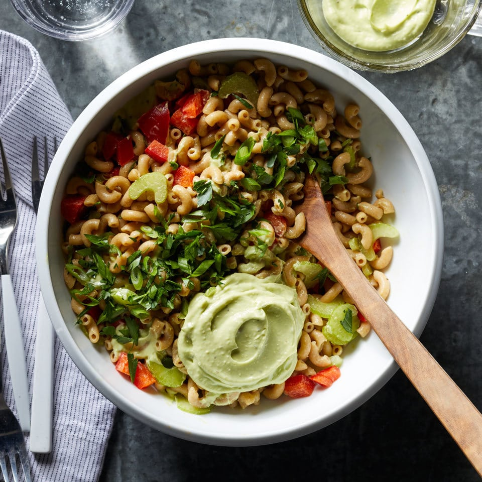4th of July recipe for dinner - Macaroni Salad with Creamy Avocado Dressing