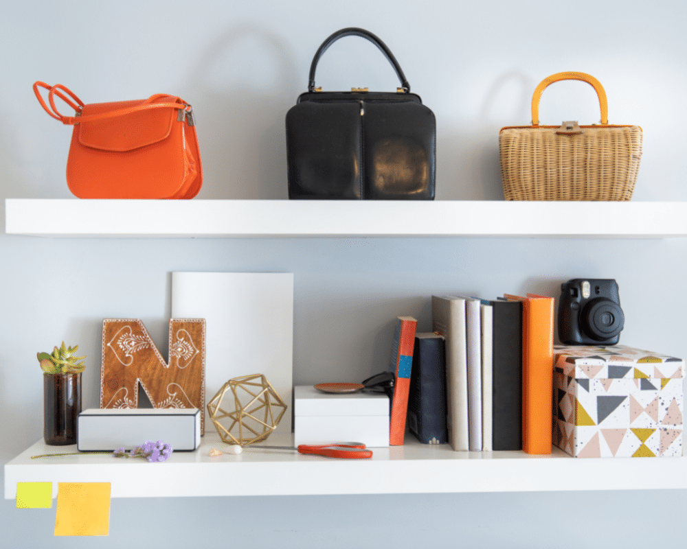 Use wall shelves for organizing.